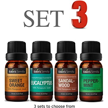 Premium Essential Oils Collection – Therapeutic Grade for Aromatherapy, Massage, Diffusers + More. Choose From 12 x Most Popular 10ml Bottles. Set 3 – Sweet Orange, Eucalyptus, Sandalwood and Peppermint. 3 x SETS to Choose From