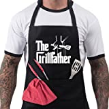 Funny BBQ Apron Novelty Aprons Cooking Gifts for Men 100% Cotton 2 Pockets - The Grillfather