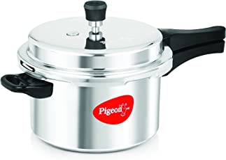 Pigeon By Stovekraft Favourite Al Outer Aluminum Pressure Cooker, 5 Litres (Silver)