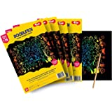 Toiing Doodletoi Return Gifts Combo - 20 Packs of 3 A4 Magical Rainbow Scratch Art Sheet Packs | Fun Art & Craft Kit | Great