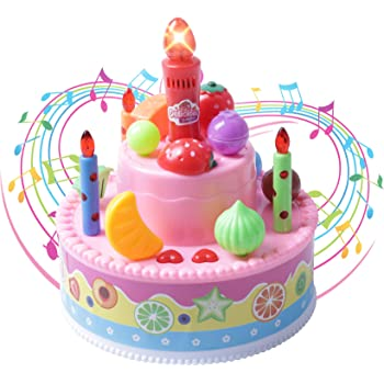 Record And Playback 46 Musical Birthday Cake Toy With Light Up Candle Song
