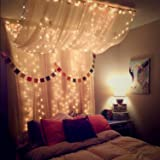 LED Lichtervorhang für Fenster und Bett 3X3M, 300LEDs Lichterkette Vorhang mit Fernbedienung, USB Vorhanglichter mit Timer Funktion für Zimmer und Außen, 8 Lichtmodi