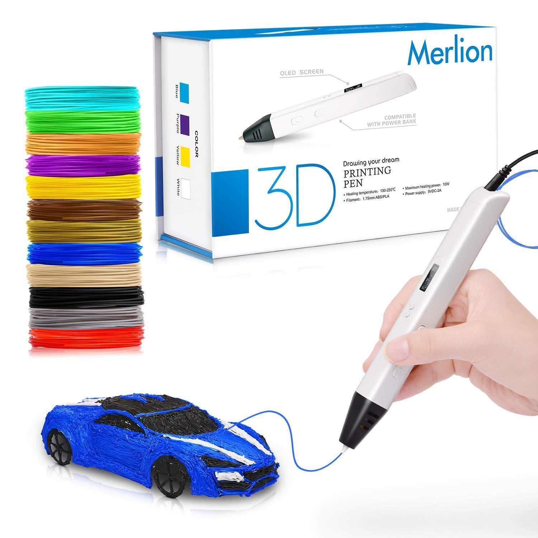 3D Stylo pour les enfants, 3D stylo avec un baquet de 12 filaments PLA de 1,75 mm, chaque couleur, 10 pieds, 3D stylo d'impression avec écran à OLED pour les enfants, artiste et adultes adaptés