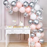 PartyWoo Pink Silver and White Balloons, 60 pcs Pale Pink Latex Balloons, White Balloons, Silver Metallic Balloons, Silver Co