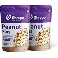 SHREGO Peanut Plus Light Roasted Whole Peanut Unsalted 400g, Snacks and Namkeen (2x200g Vacuum Packed)