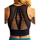 RIOJOY Sports Bra Women Mid Impact, Seamless Padded Running Yoga Crop Top, Wireless Breathable Comfy Bra