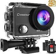 Crosstour 4K 16MP Action Cam WIFI Subacquea Ultra HD Sport Action Camera 170° Grandangolare Telecomando Due 1050mAh Batterie