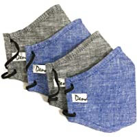 DK with Dena Kite 5 Layers linen cotton face mask reusable washable with nose clip for ADULTS. (Blue & Black; 4pcs)