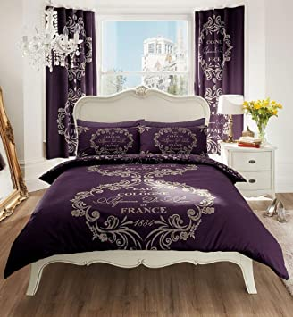 DARK PURPLE BUMPER BED PACKS - INCLUDES DUVET SET SHEET & CURTAINS ...
