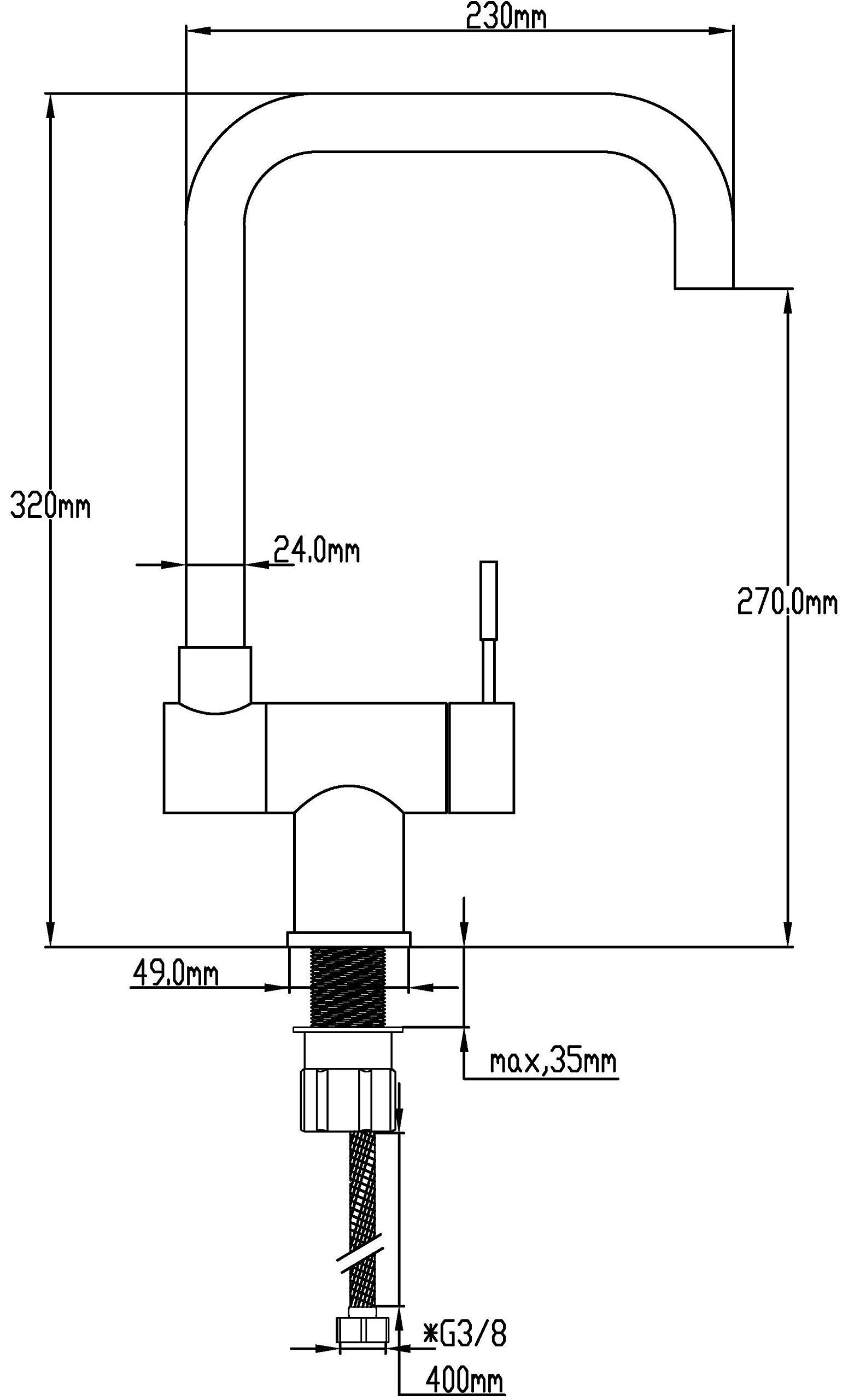 DP Grifería GCA-0001 Grifo monomando de fregadero abatible