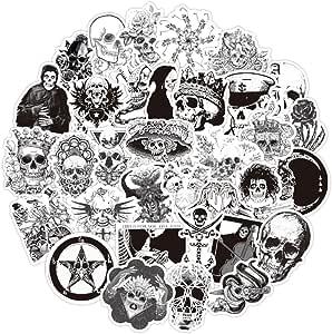 Ouceanwin 50 Stück Vinyls Stickers Schwarz Weiß Stickerbomb Skull Graffiti Decals Set Deko Sticker Wasserdicht Vsco Aufkleber Für Auto Motorrad Fahrrad Skateboard Snowboard Gepäck Laptop Macbook Küche Haushalt