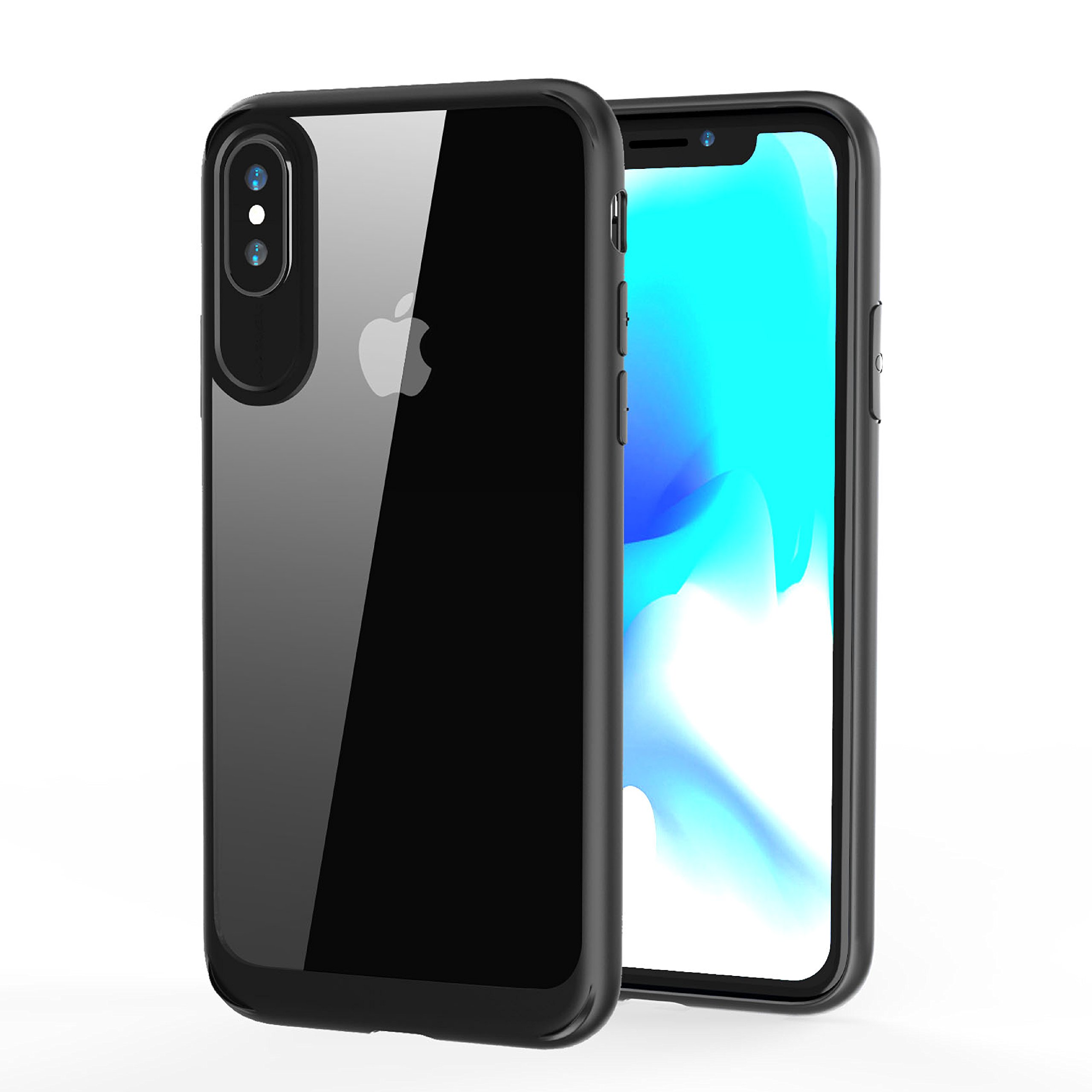 for iphone x case auckly hybrid cover reinforced camera protection clear black ebay. Black Bedroom Furniture Sets. Home Design Ideas