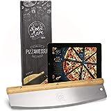 Dolce Mare® Coupe-pizza - Couteau berceau polyvalent avec manche en chêne fin - Couteau à pizza avec lame en acier inoxydable