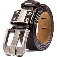 BISON DENIM Cintura in Pelle da Uomo Cinture Casual con Fibbia Antica in Nero e Marrone