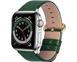Fullmosa Cinturino per Apple Watch 38mm/40mm e 42mm/44mm, Cinturini in Pelle di Ricambio Compatibile con Apple Watch Serie SE