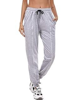 Hawiton Pantaloni Sportivi da Donna in Cotone 100/% con Tasche per Corsa Sport Pigiama Pantaloni Lunghi Casual per Donna
