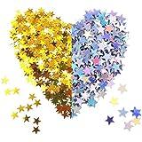 120g Confeti de Estrella Dorado Plata Confeti de Mesa Lentejuelas de Estrellas para Materiales de Fiesta Boda (60g Dorado +60