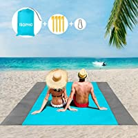 ISOPHO Beach Blanket Picnic Blanket, Extra Large 210 x 200cm/78.7*82.7IN Waterproof Sandproof Water Resistant Beach Mat with 4 Fixed Nails, Reinforced Edging for Beach, Camping, Hiking and Grass Trips