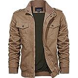KEFITEVD Men's Cotton Windbreaker Jacket Military Zipper Bomber Cargo Outwear Jackets Coat