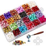 Jxunter 600 Pièces Perles de Cire à Cacheter avec 4 Bougies à Thé et 1 Cuillère à Fusion de Cire Pièce pour Timbre à Cacheter