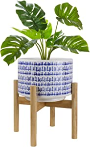 La Jolíe Muse Ceramic Plant Pot with Wooden Stand
