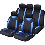 Sakura Car Seat and Headrest Covers Carnaby Blue SS5292 - Full Set Universal Size Elasticated Hems Side Airbag Compatible Was