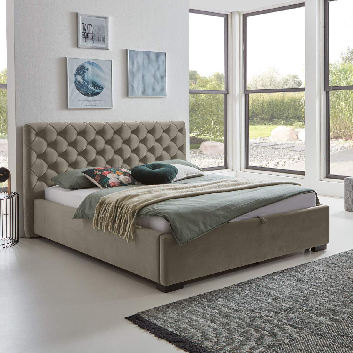 Designer Bett Mit Bettkasten Elsa Samt Stoff Polsterbett Lattenrost Doppelbett Stauraum Holzfuß Schwarz Taupe 140 X 200 Cm