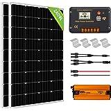ECO-WORTHY 1kW·h Sistema de Paneles Solares con Inversor 240W 12V Kit Solar para Casa Caravana Fuera de la Red: 2 Paneles Sol