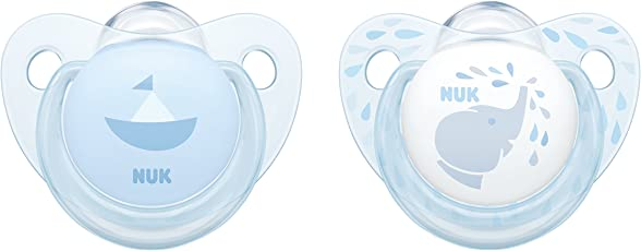 NUK Baby Rose und Baby Blue Trendline Silikon-Schnuller, kiefergerechte Form, 2 Stück