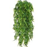 HUAESIN 2pcs 115cm Fougères Artificielles Plantes Suspendues Fausse Plantes Tombante Longue Fausse Plante Grimpante Faux Plan