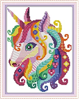 Colorful Fox Seven Color Tail 11CT 28/×38cm DIY Embroidery Needlework Kit with Easy Funny Preprinted Patterns Needlepoint Christmas Fox YEESAM ART Cross Stitch Kits Stamped for Adults Beginner Kids