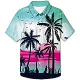 NEWISTAR Camisa hawaiana para niños con impresión 3D de verano de manga corta con botones para niños y adolescentes