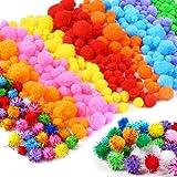 Craft Pompons, Pompons Loisirs Creatifs, Multicolores Rondes Fils Chenille Enfant Artisanat Fabrication Loisirs Fournitures D