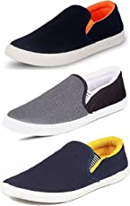 Chevit Men's Canvas Casual Loafers - Pack of 3