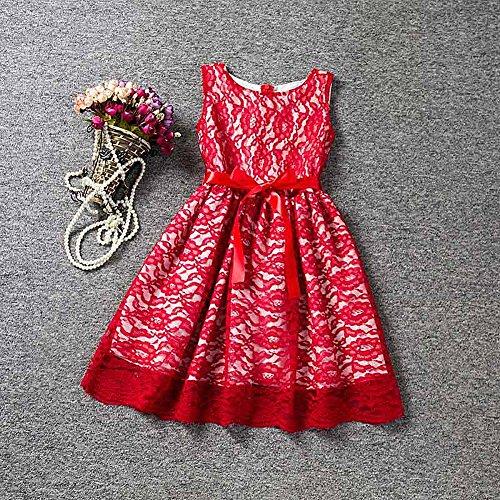 Ropa de niñas, Morbuy Encaje Hueco Vestidos de Fiesta de Princesa Super Lindo Diseñador de Moda Vestidos de Niñas para el partido Boda Pompa (130, Rojo)