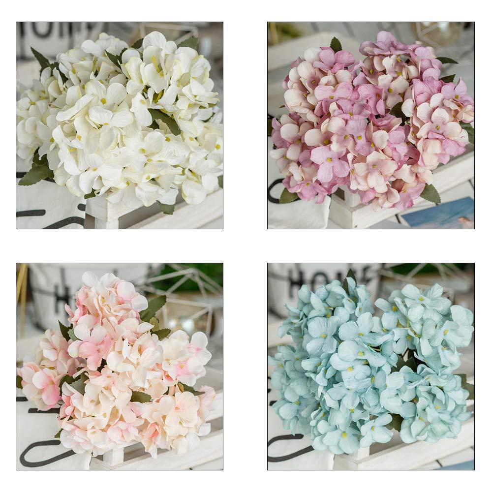 FUGL Hortensia Flor de Imitación 5 Tallos Flor Artificial Hortensia de Imitación Única Flor Artificial Casa de Café…