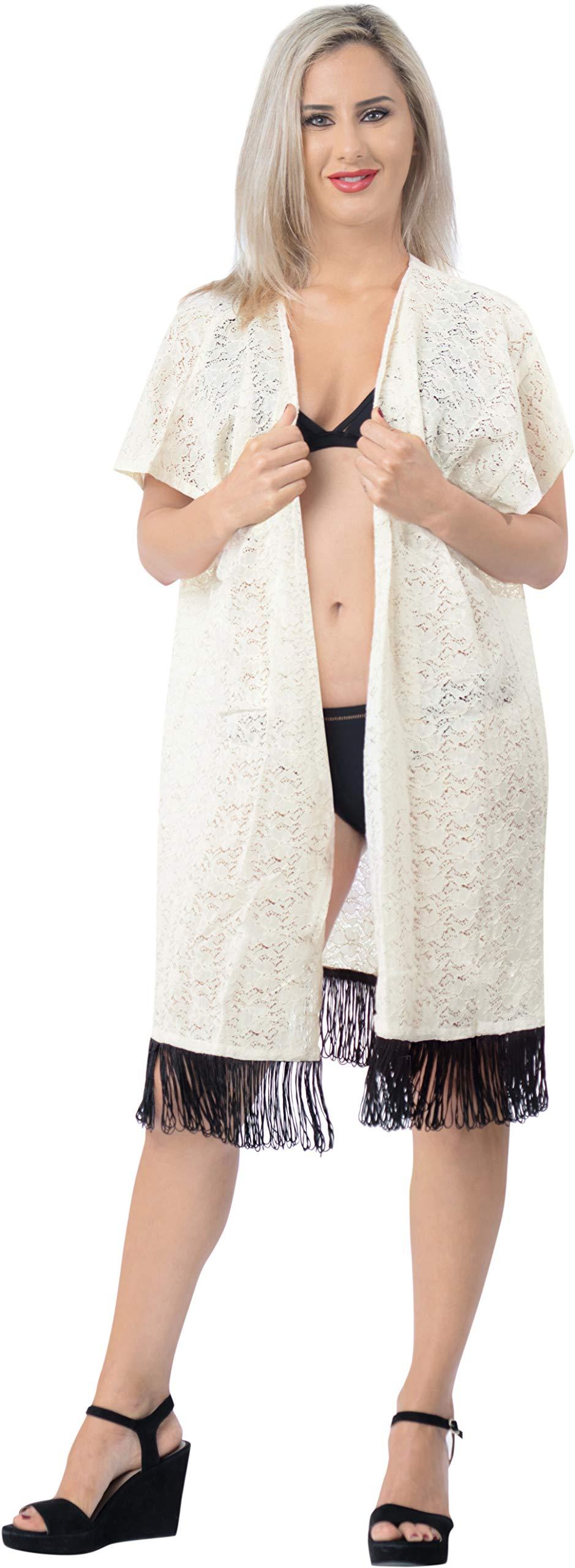 LA LEELA Copricostume Mare Cardigan Donna Taglie Forti- Vintage Chiffon Estivo Scialle Elegante Solido Kimono Vestito… 3 spesavip