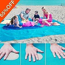 Telo Mare 200 x 200 cm Tappetino Antiscivolo spiaggia tappetino tappeto coperta da picnic-Gratuito A Prova Di Sabbia, Compatto, Morbido e Leggero Con Grandi Dimensioni Per La Spiaggia Estiva, Picnic