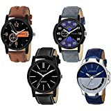 LEVERET Analogue Men's & Women's Watch (Black Dial) (Pack of 4)