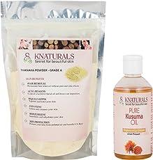 KNATURALS Grade A Thanaka Powder (100 gms) & Kusuma Oil (200 ml) for hair removal