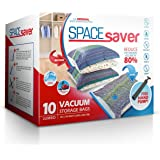 SpaceSaver 10 x Premium Jumbo próżniowych worków do przechowywania, o 80% więcej niż inne marki! Bezpłatna ręczna pompka do p