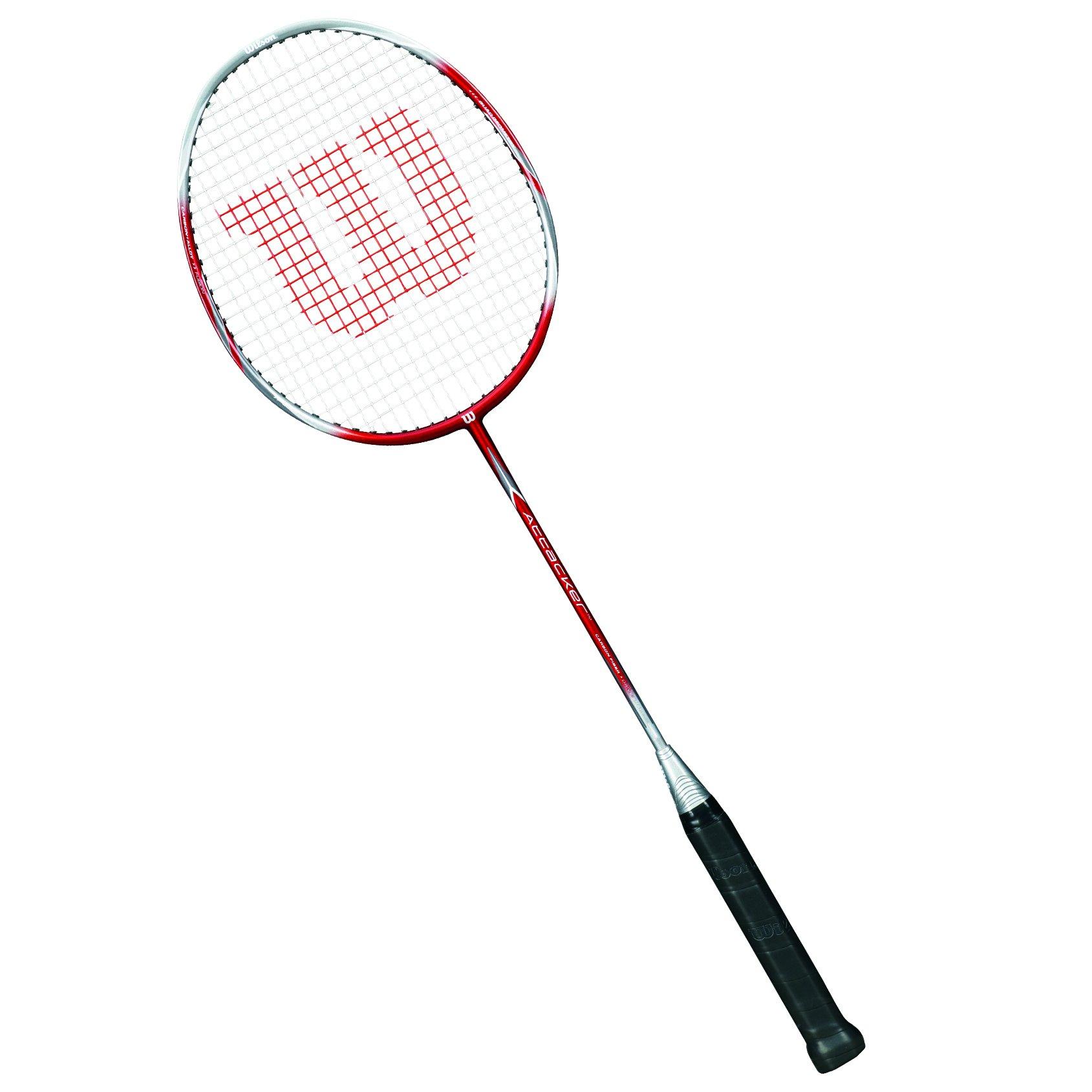 Wilson Attacker 1/2 Raqueta de Badminton, Unisex Adulto, Rojo / Plata, 4