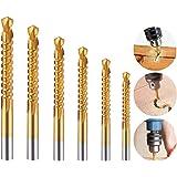 Electomania 6 in 1 Set HSS Titanium Coated Metal Saw Drill Sawtooth Drill Bit Set Woodworking Drilling Wood Metal Cutting Hol