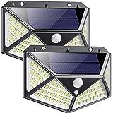 Luce Solare led Esterno【270°Angolo Illuminazione-2200mAh】QTshine 162LED Lampada Solare con Sensore di Movimento Luci Solari E