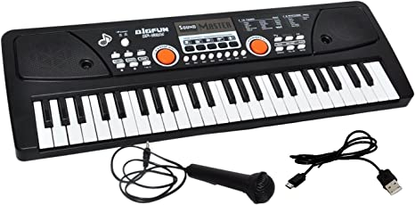 IndiPlay Cora 49 Keyboard Melody Musical Piano with Mic, Charger and Recording Facility