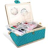 Navaris Boîte à Couture Complète - Boîte à Coudre 24,5 x 17,5 x 12,5 cm - Kit de Couture 76x Accessoire avec Poignée Motif Po