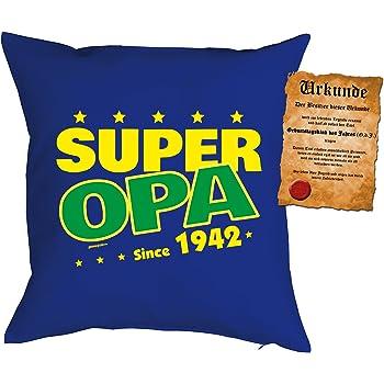 Zum 71 Geburtstag Geschenkidee Kissen Mit Füllung Super Opa Since