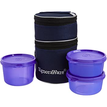 Signoraware Officer's Lunch Box with Bag, 14.5cm, Deep Violet