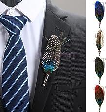 ELECTROPRIME 3 Pcs Fashion Men Feather Wedding Suit Corsage Lapel Pin Brooch