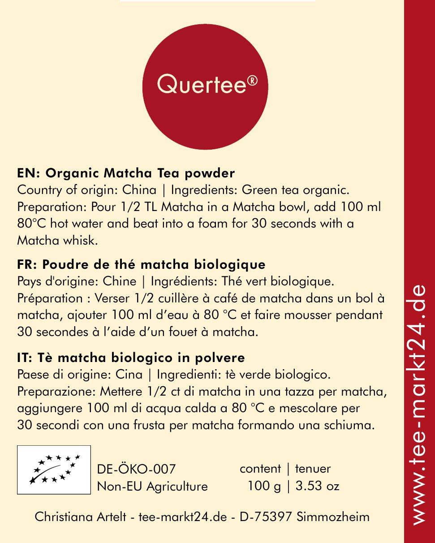 Bio-Matcha-Tee-Pulver-vegan-Grner-Tee-Pulver-zum-Trinken-fr-Matcha-Latte-Smoothies-und-Mixgetrnke-zum-Kochen-und-Backen-100-g-von-Quertee